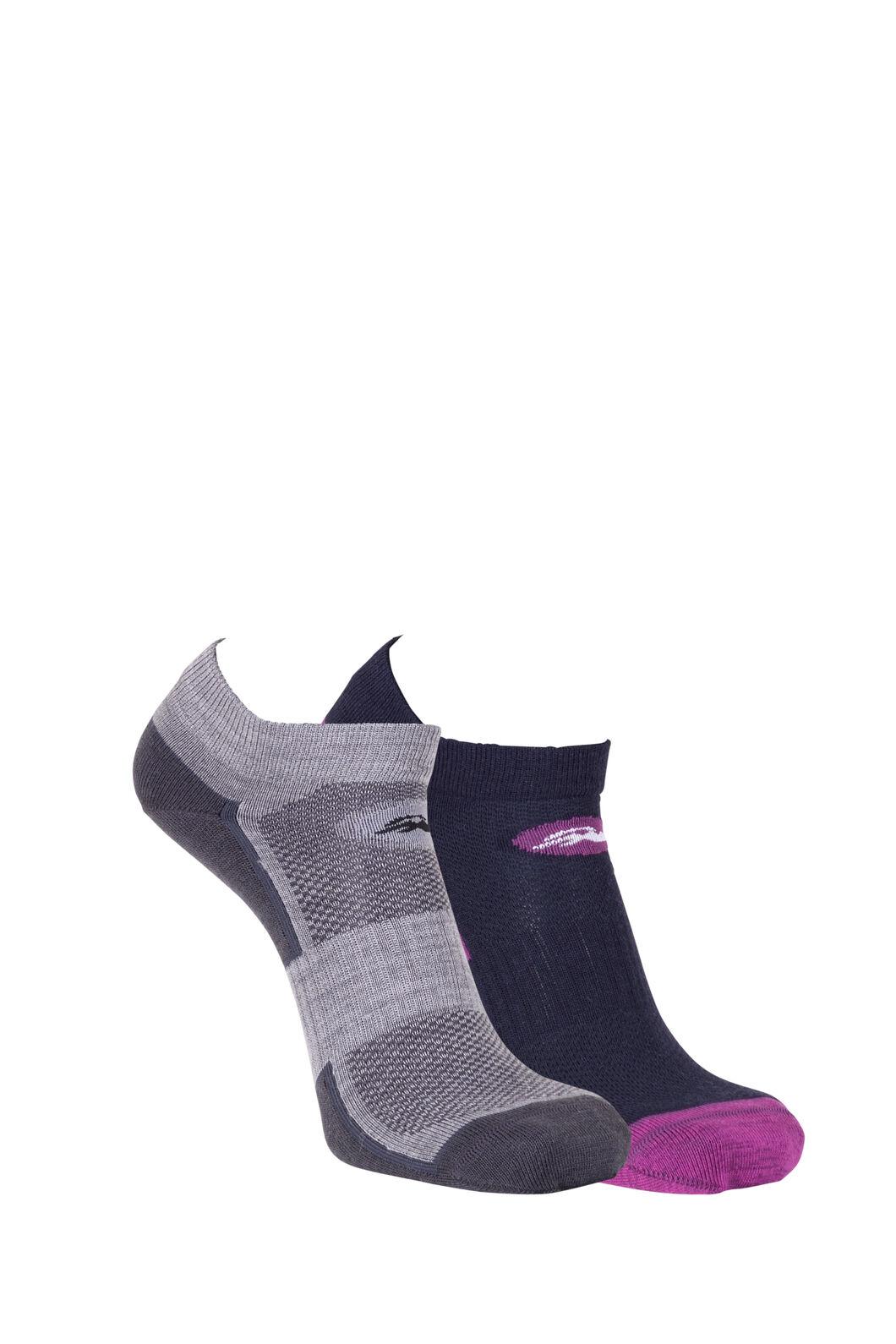 Macpac Merino Blend Anklet Sock (2 Pack), Grey Marle/Purple, hi-res