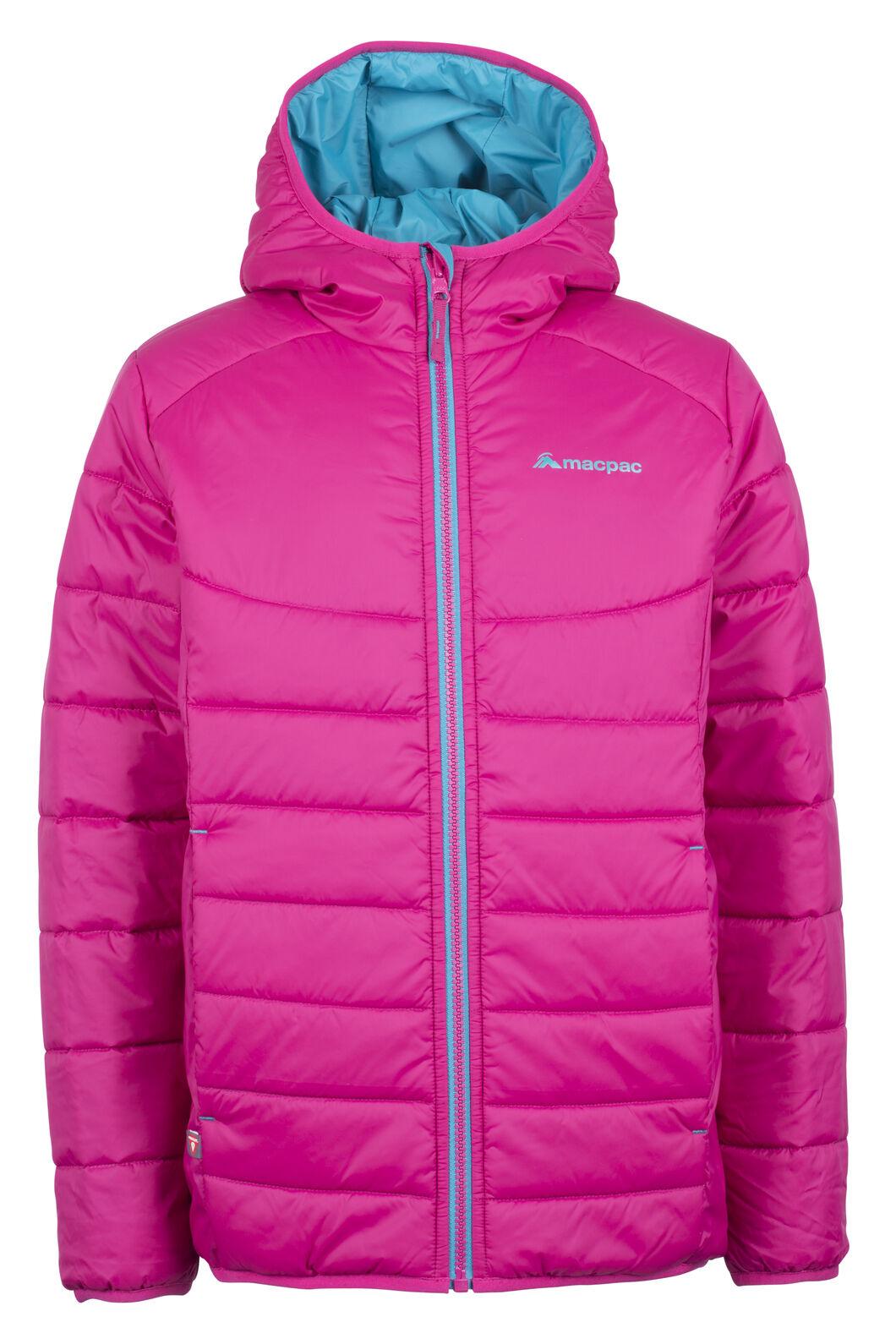 Macpac Pulsar Hooded Primaloft® SILVER Jacket - Kids', Sangria, hi-res