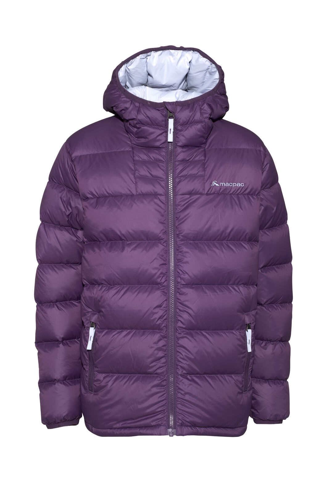 Macpac Atom Hooded Down Jacket — Kids', Wineberry, hi-res