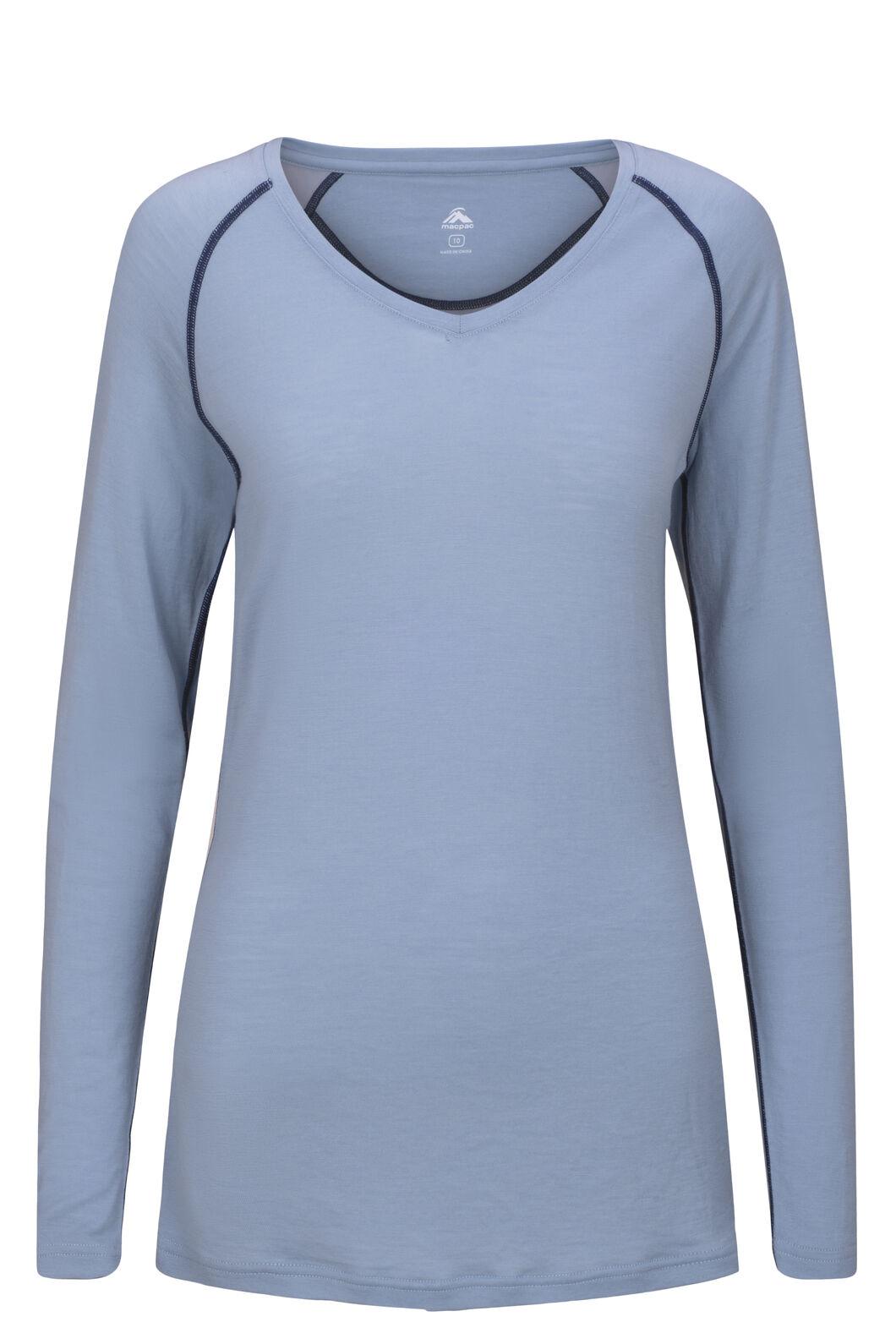 Macpac Women's 150 Merino V-Neck Top, Dusty Blue, hi-res