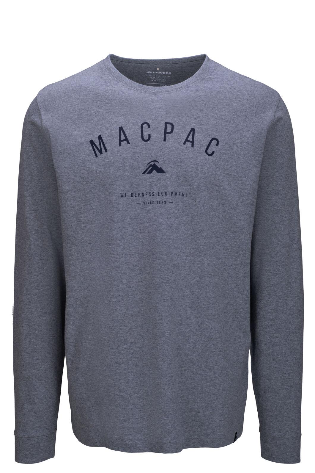 Macpac Men's Graphic Long Sleeve Tee, Grey Marle, hi-res