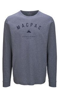 Macpac Men's Graphic Fairtrade Organic Cotton Long Sleeve Tee, Grey Marle, hi-res