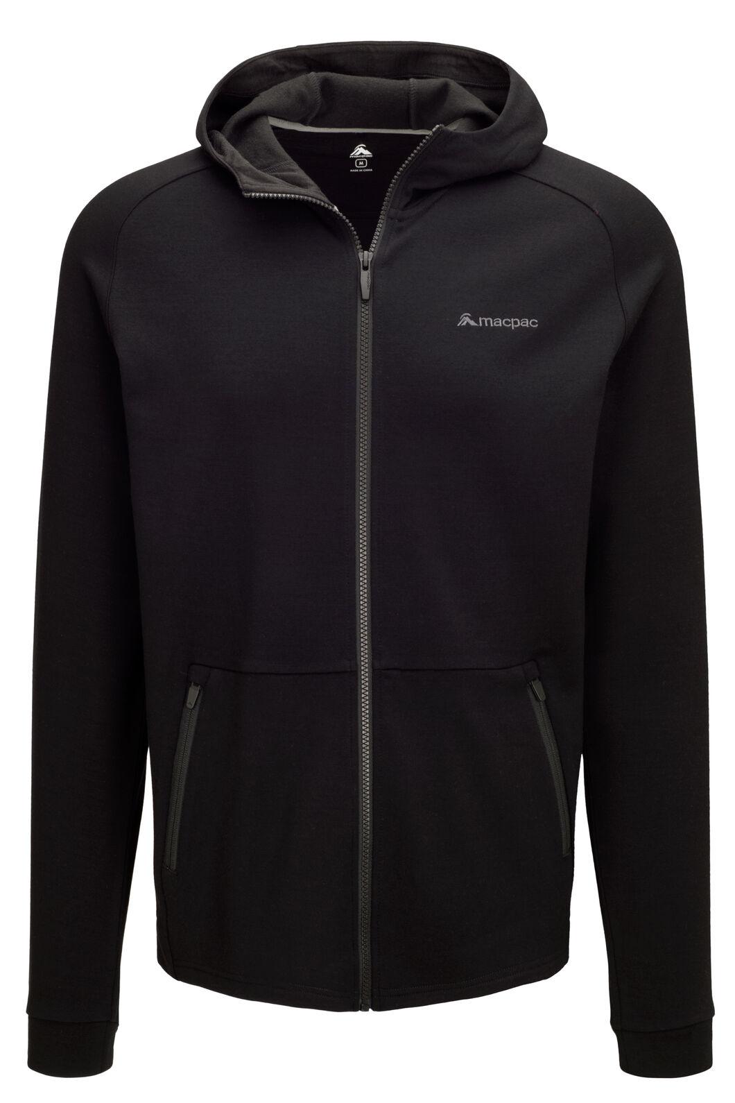 Macpac Men's Craigieburn 280 Merino Blend Hooded Jacket, Black, hi-res