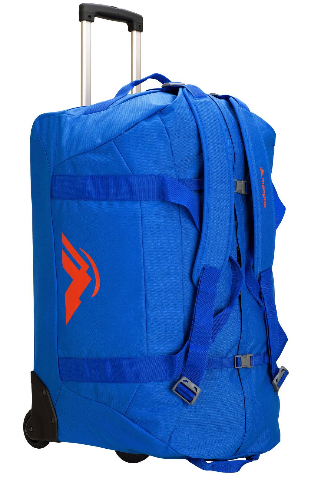 Macpac 120L Wheeled Duffel Bag, Victoria Blue/Orange, hi-res