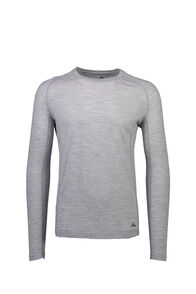 Macpac 150 Merino Long Sleeve Top — Men's, Light Grey Marle, hi-res