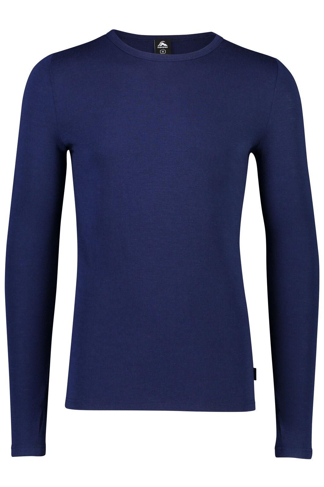 Macpac Men's 220 Merino Long Sleeve Top, Medieval Blue, hi-res