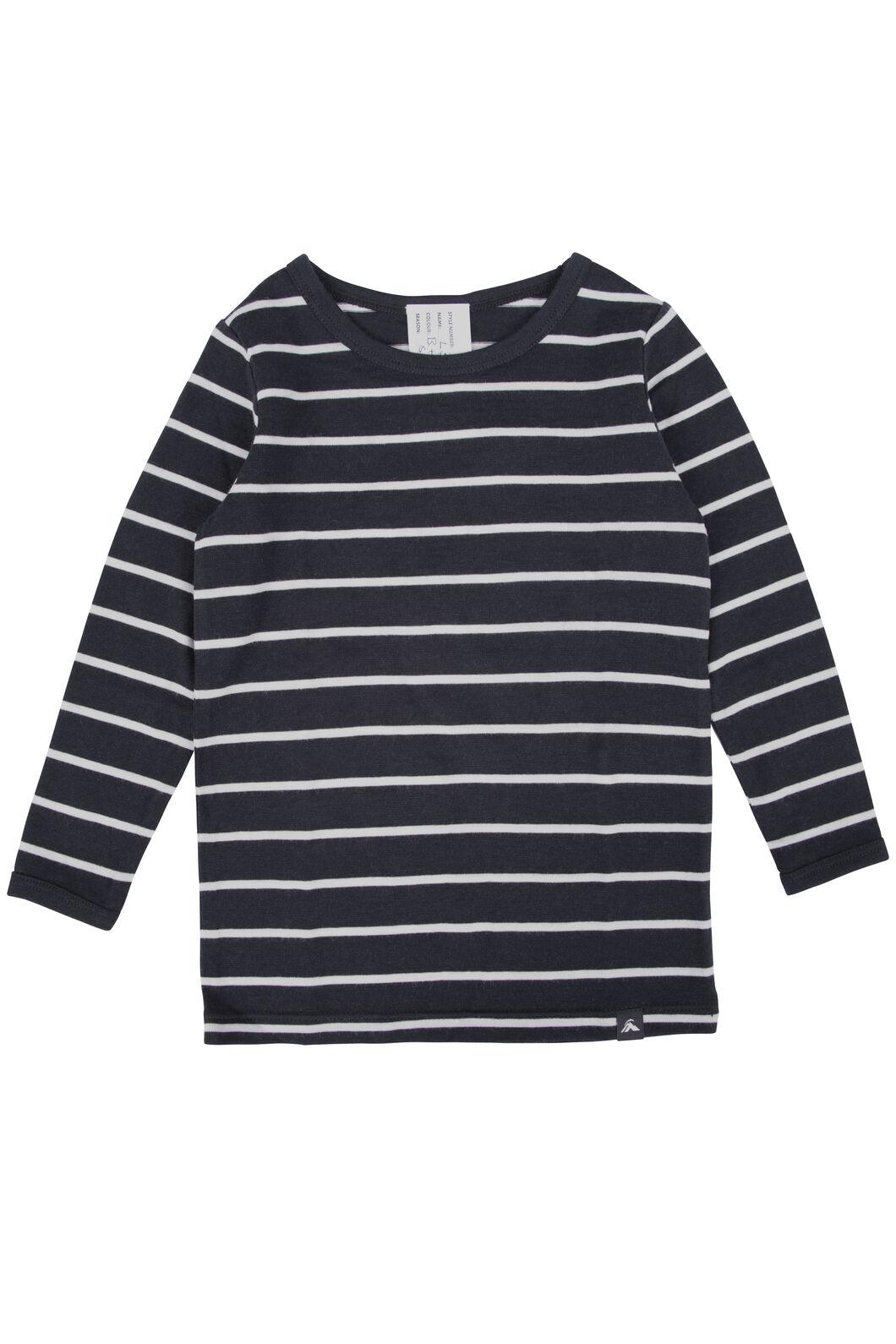 Macpac 150 Merino Long Sleeve Top - Baby, Black/White Stripe, hi-res