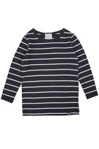 Macpac 150 Merino Long Sleeve Top - Baby, Black/White Stripe, hi-res
