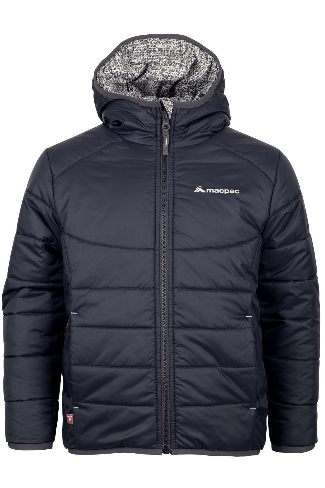 Macpac Pulsar Hooded Primaloft® SILVER Jacket - Kids', Black/Print, hi-res
