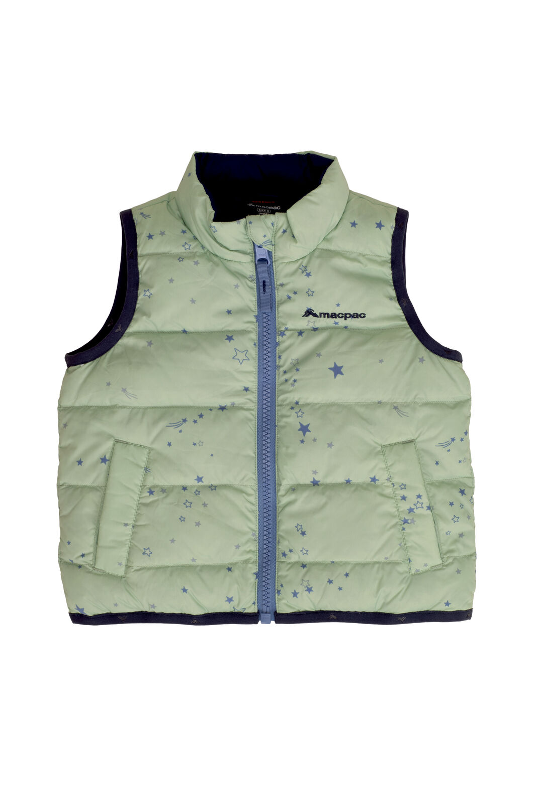 Macpac Atom Down Vest — Baby, Frosty Green Print, hi-res