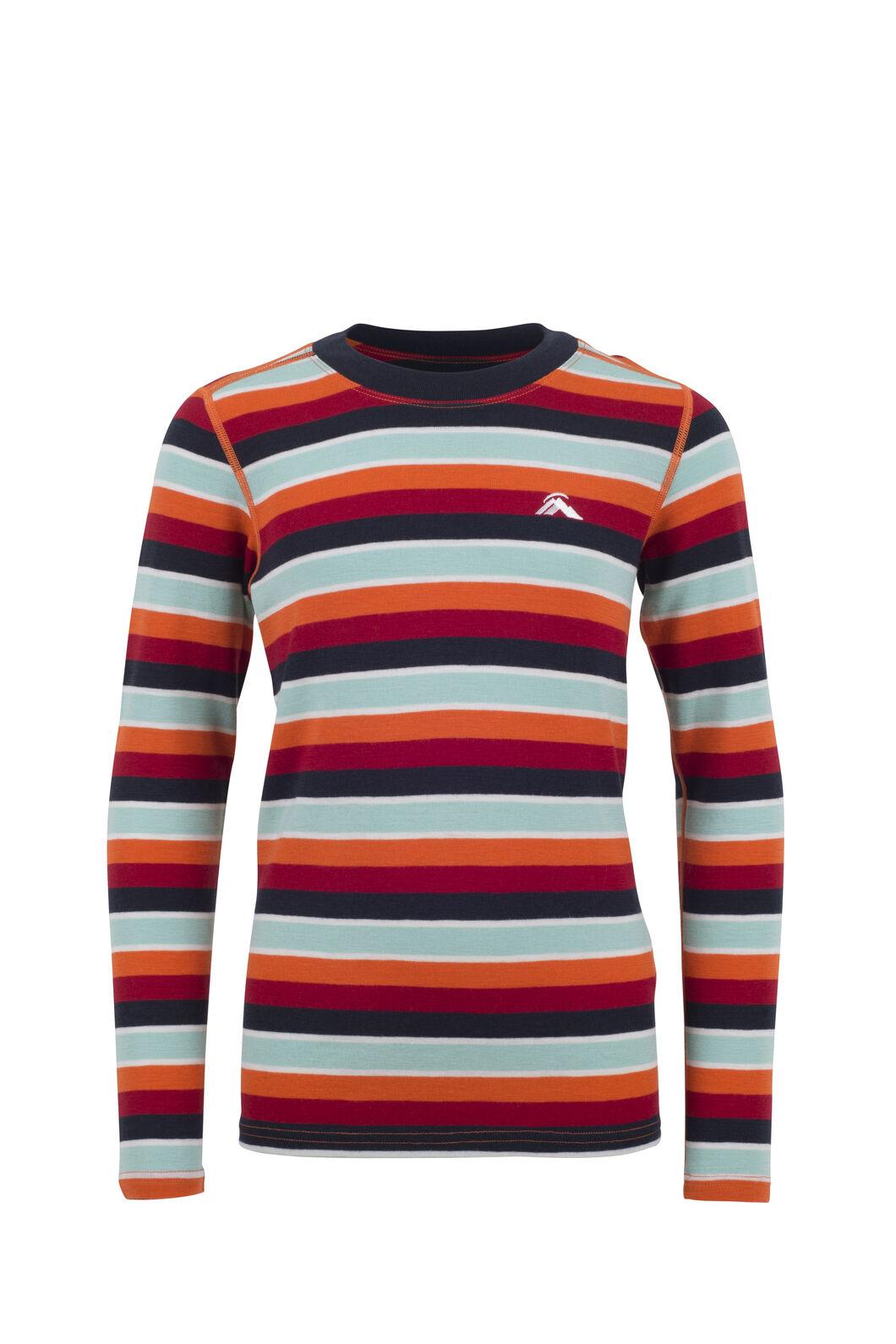 Macpac 220 Merino Long Sleeve Top - Kids', Orange Stripe, hi-res