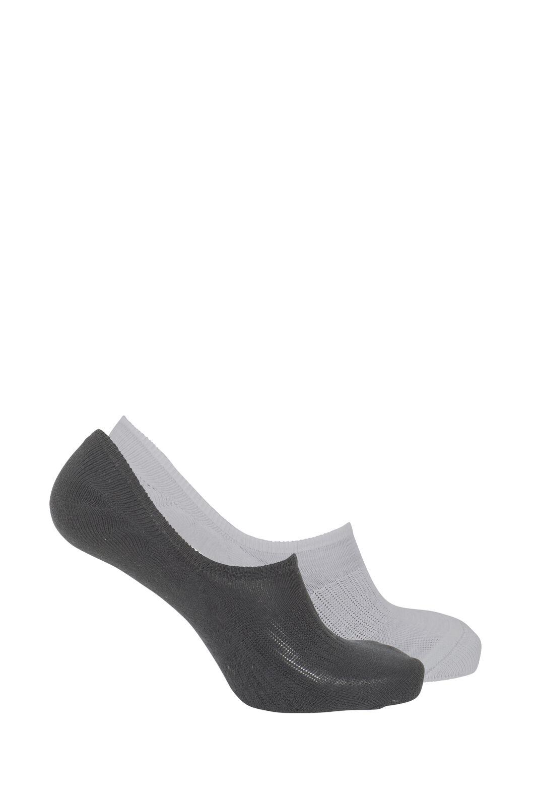Macpac Invisible Merino Socks — 2 Pack, Black/Grey Marle, hi-res