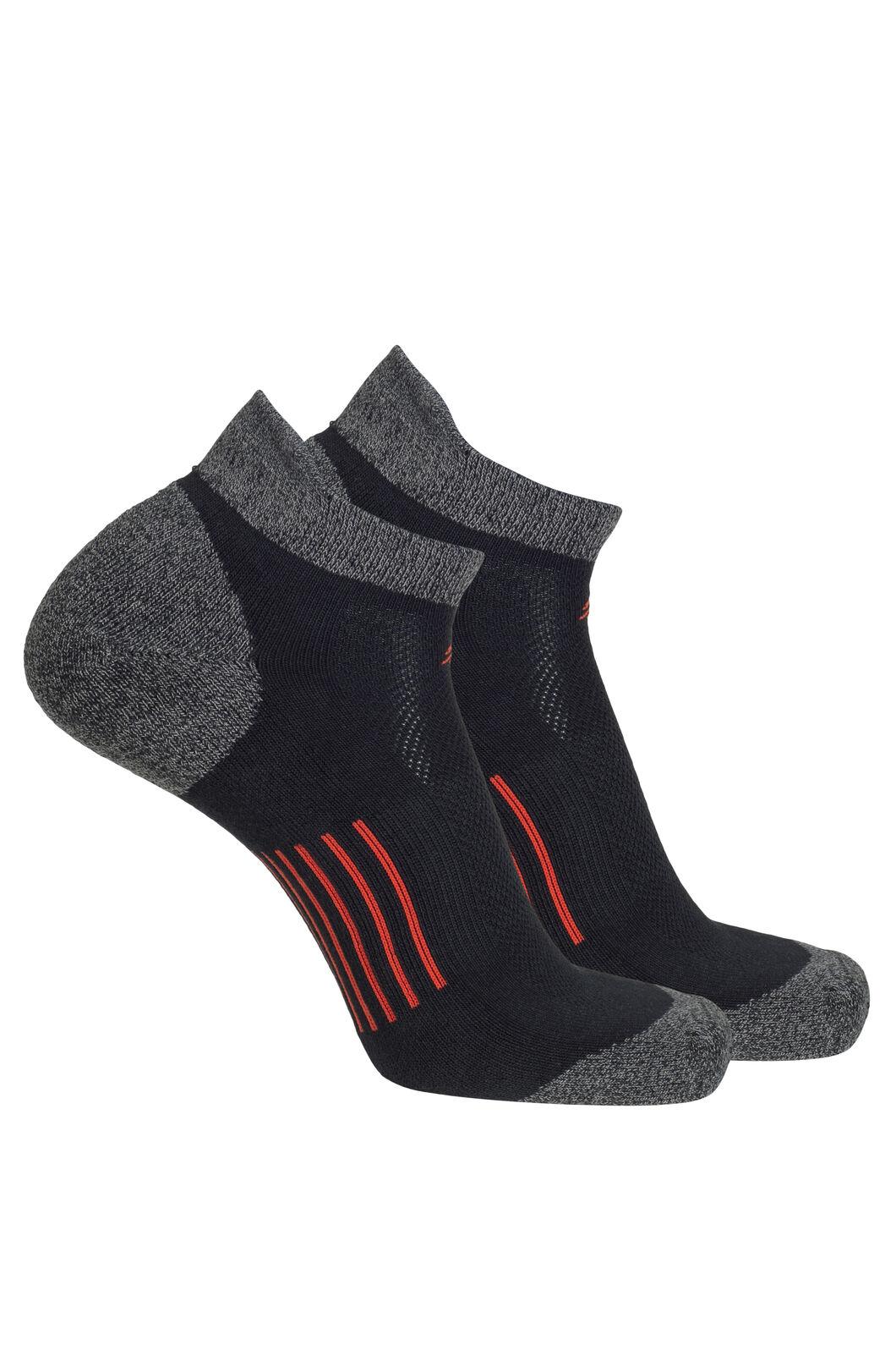 Macpac COOLMAX® Run Anklet Socks — 2 Pack, Black/Pureed Pumpkin, hi-res