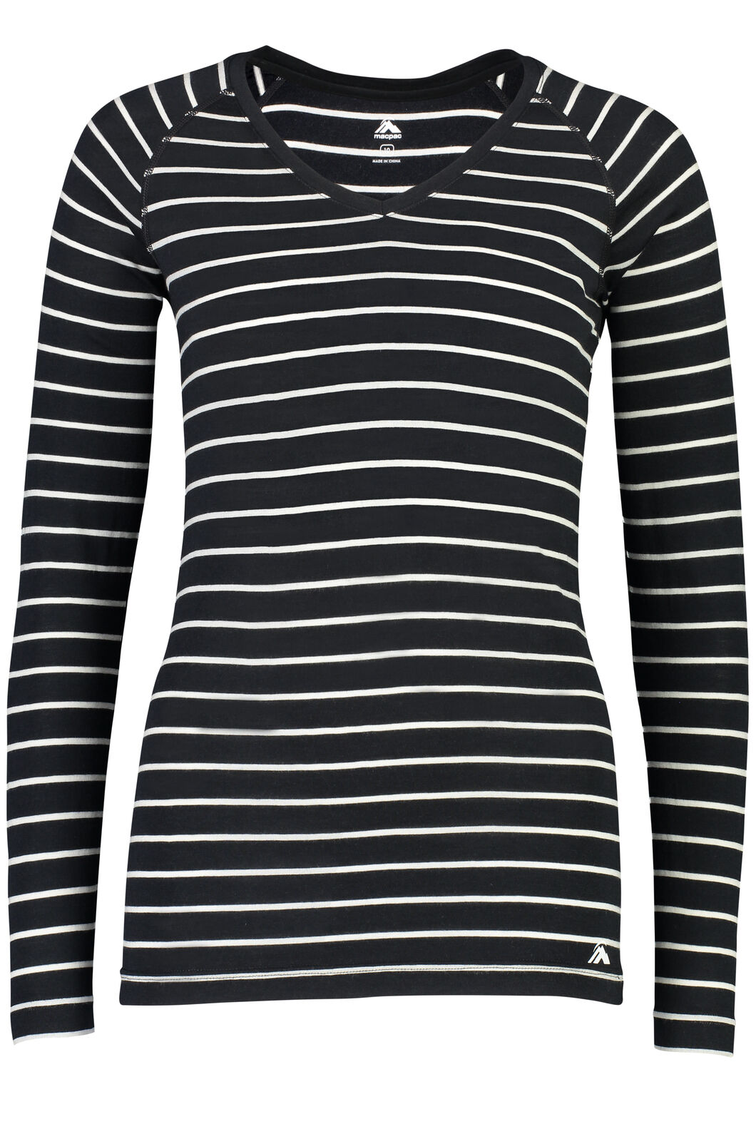 Macpac 150 Merino V-Neck Top - Women's, Black/White Stripe, hi-res
