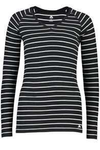 150 Merino V-Neck Top - Women's, Black/White Stripe, hi-res