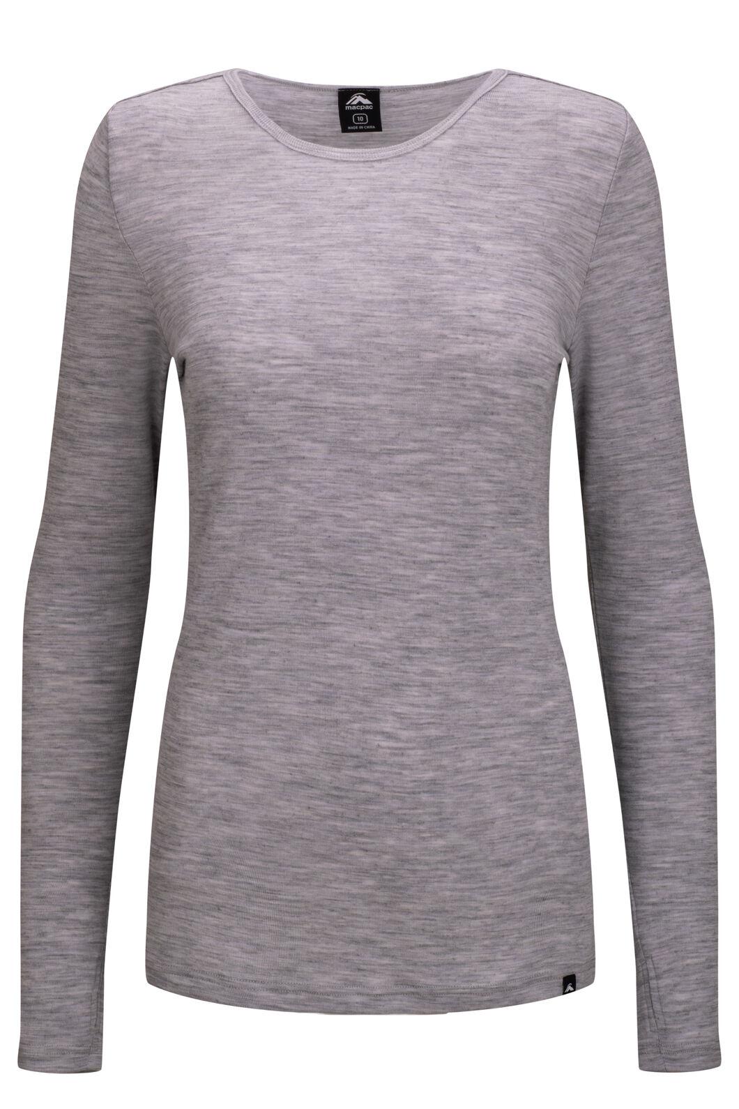 Macpac 220 Merino Long Sleeve Top — Women's, Light Grey Marle, hi-res