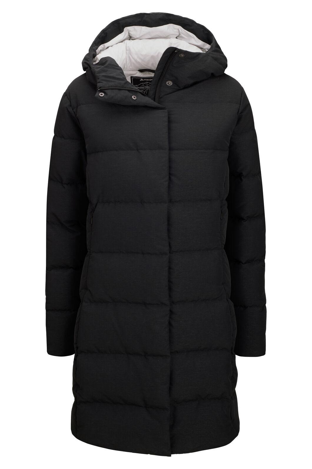 Macpac Women's Zora Hooded Down Coat, Black, hi-res