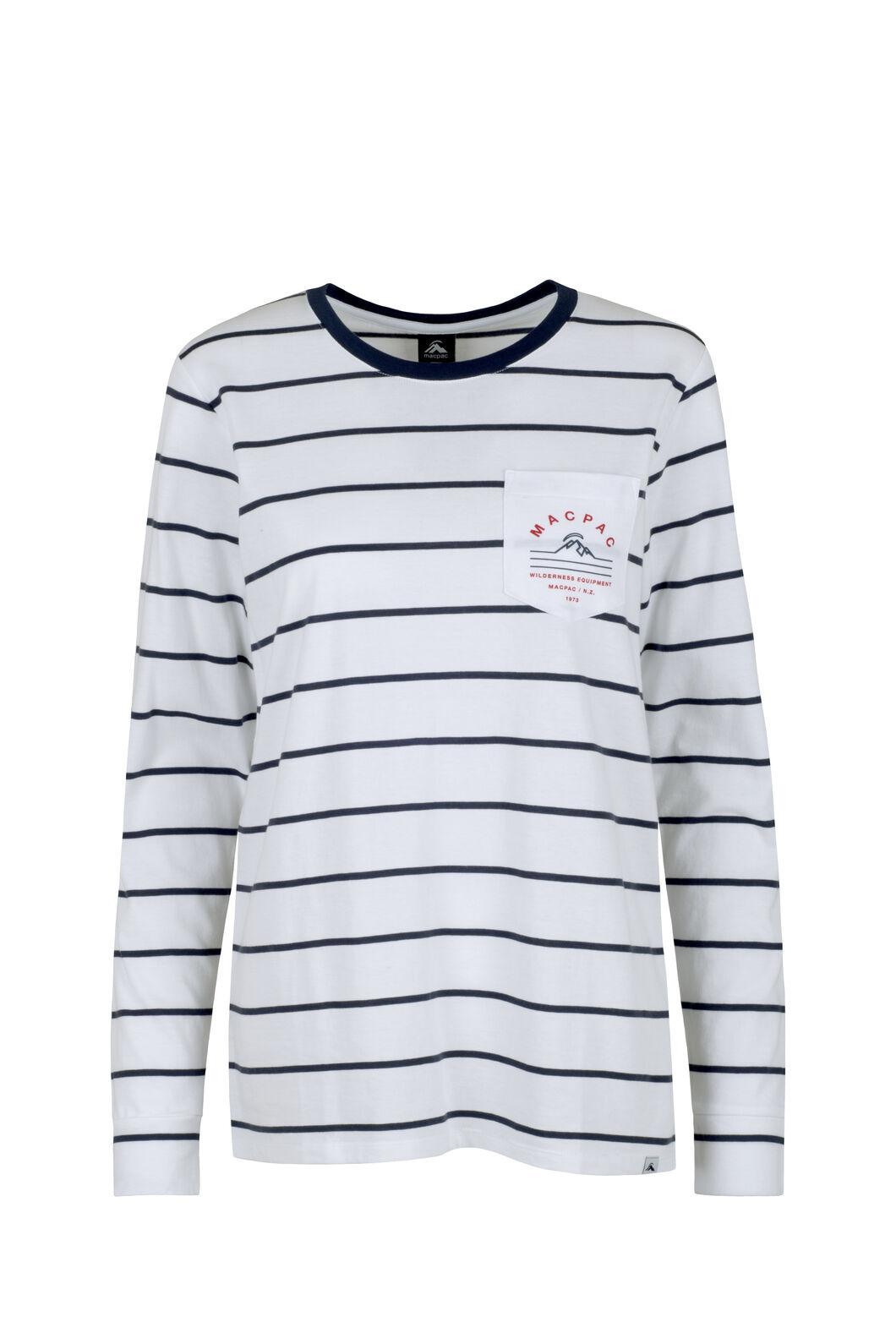 Macpac Alps Organic Long Sleeve Tee — Women's, Mood Indigo/White Stripe, hi-res