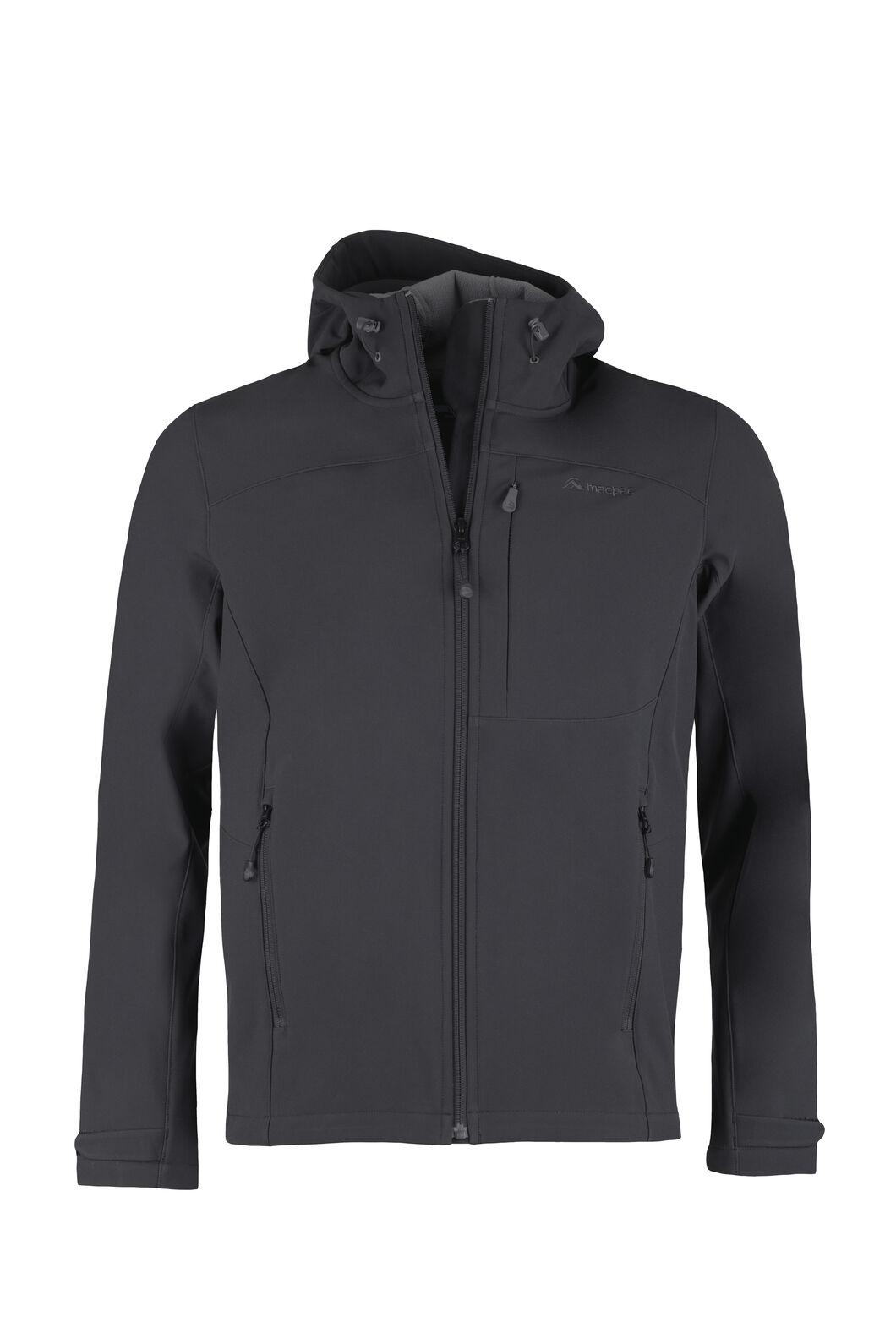 Macpac Sabre Hooded Softshell Jacket - Men's, Black, hi-res