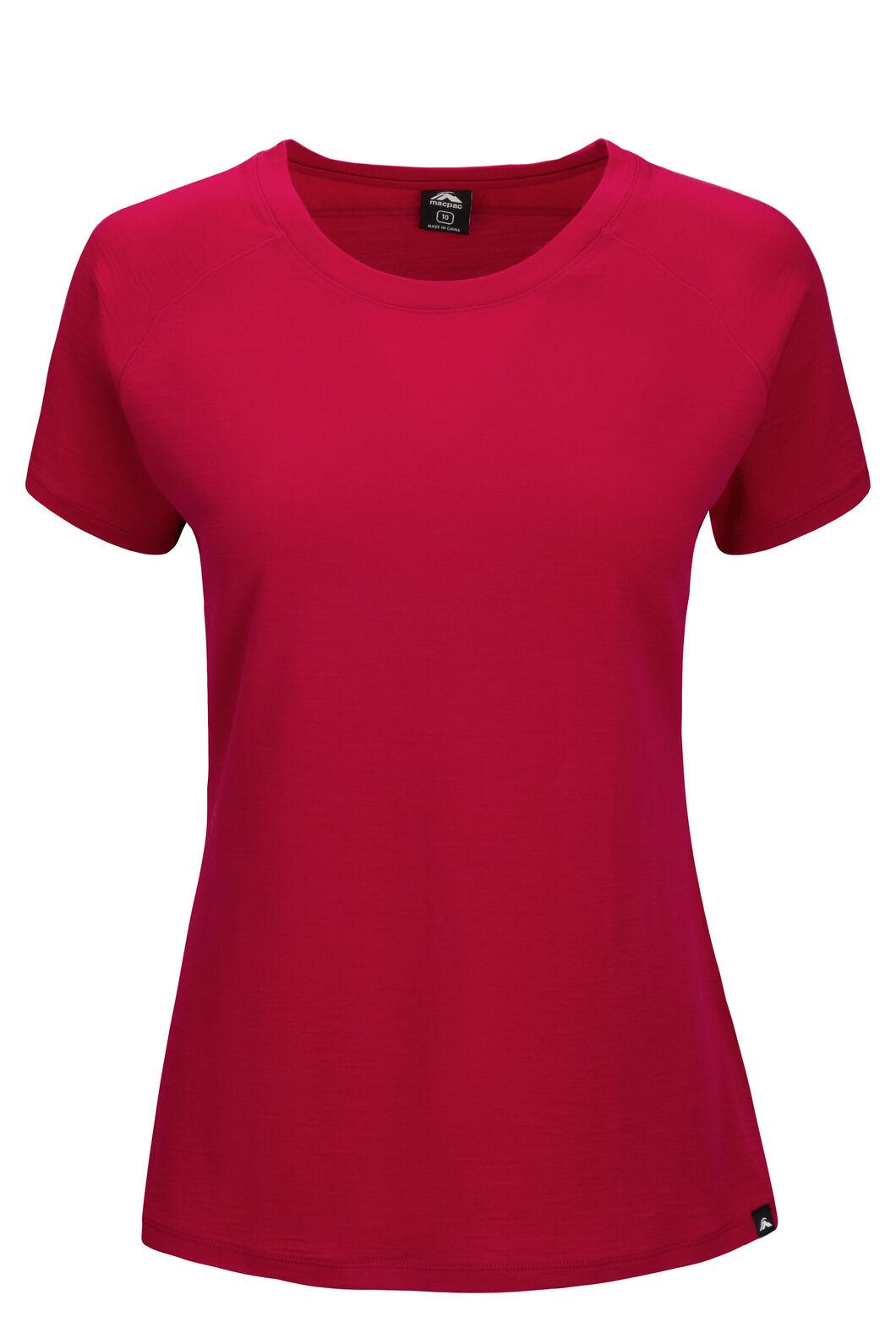 Macpac Ella Short Sleeve Merino Tee — Women's, Persian Red, hi-res