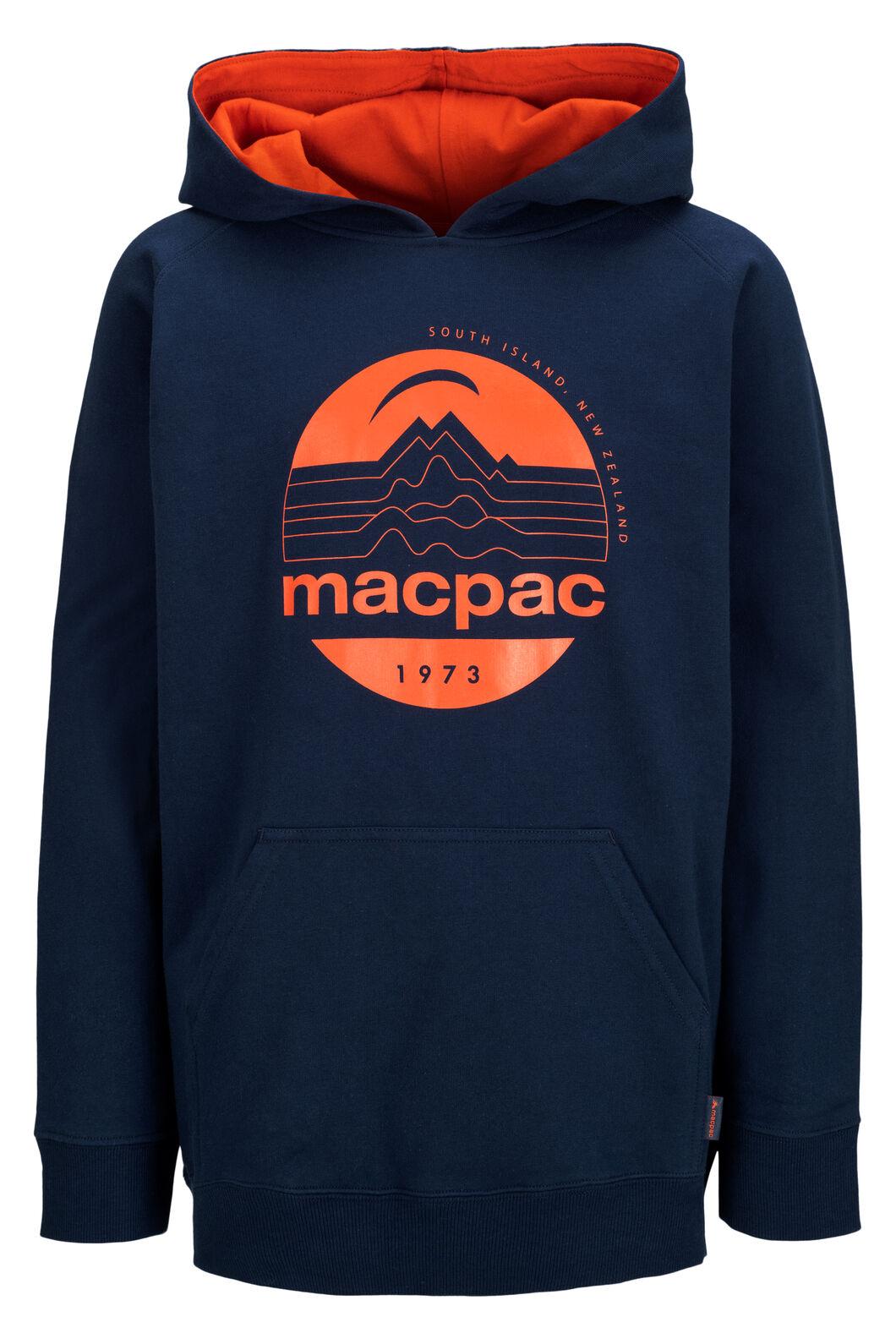 Macpac Fairtrade Organic Cotton Pullover Hoody — Kids' (V2), Black Iris/Pureed Pumpkin, hi-res