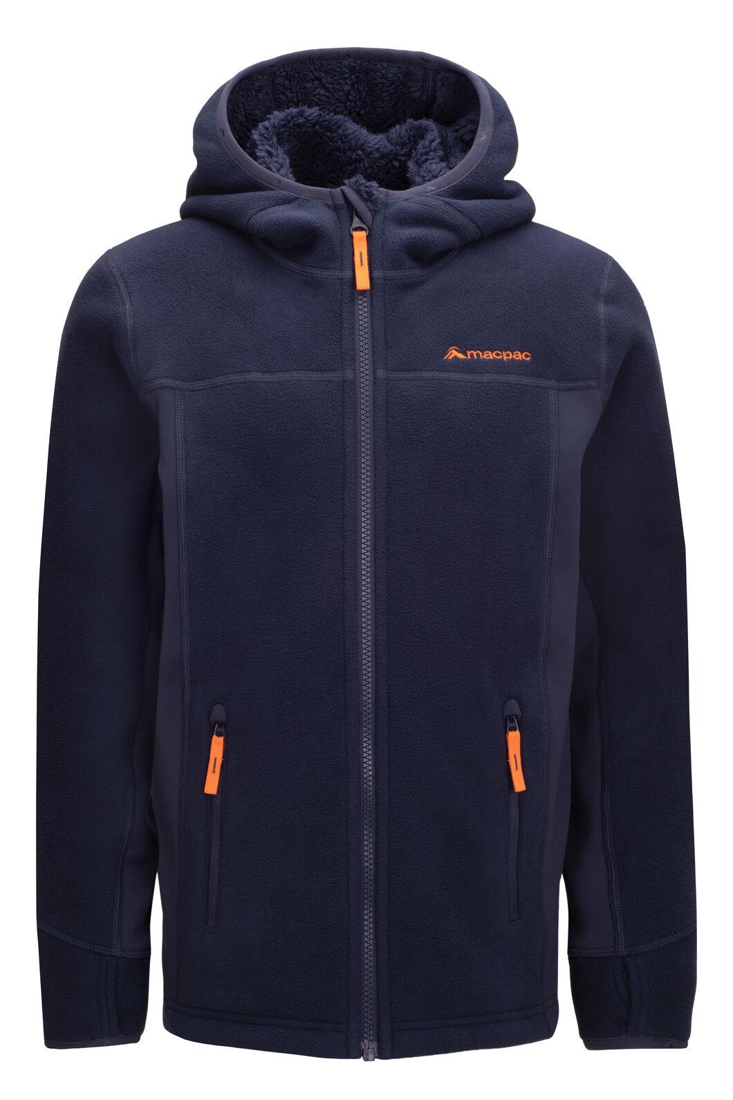 Macpac Mini Mountain Hooded Jacket — Kids', Black Iris/Russet Orange, hi-res