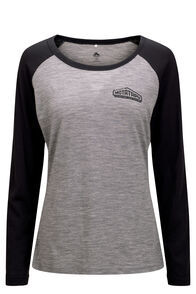 Macpac Motatapu 180 Merino Long Sleeve Tee — Women's, Black/ Mid Grey Marle, hi-res