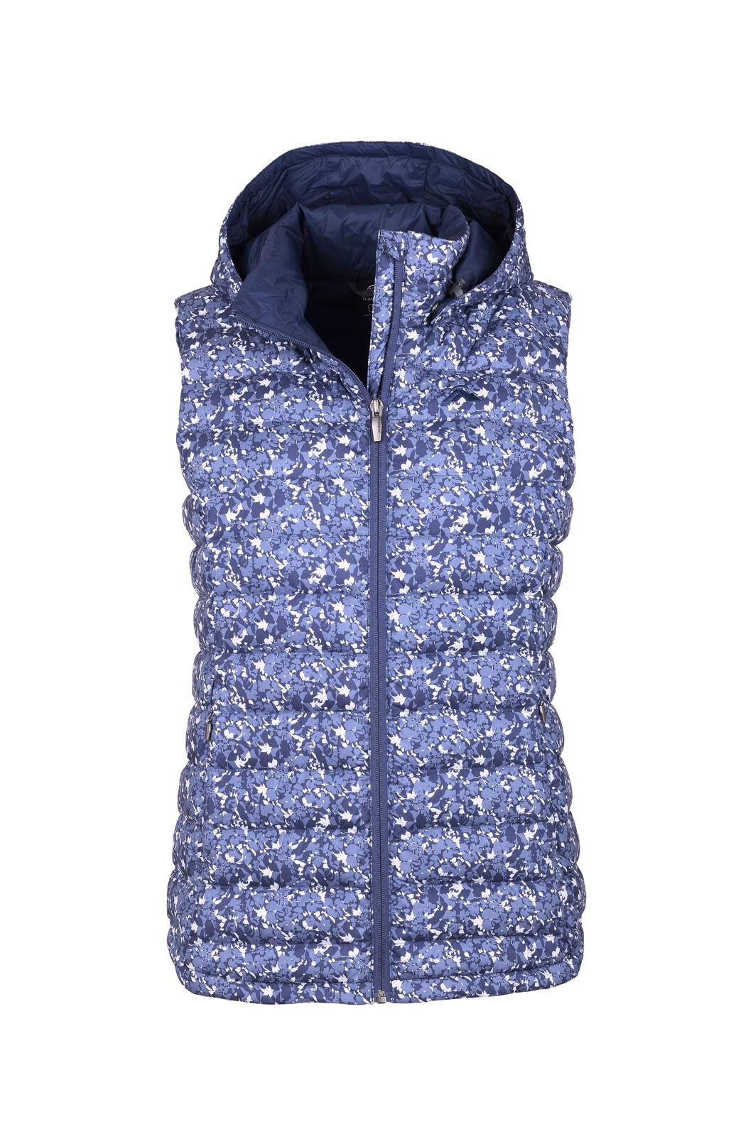 Macpac Women's Zodiac Hooded Down Vest, Mood Indigo/Pearl, hi-res
