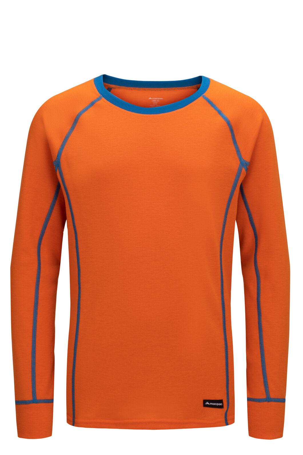 Macpac Kids' Geothermal Long Sleeve Top, Russet Orange, hi-res
