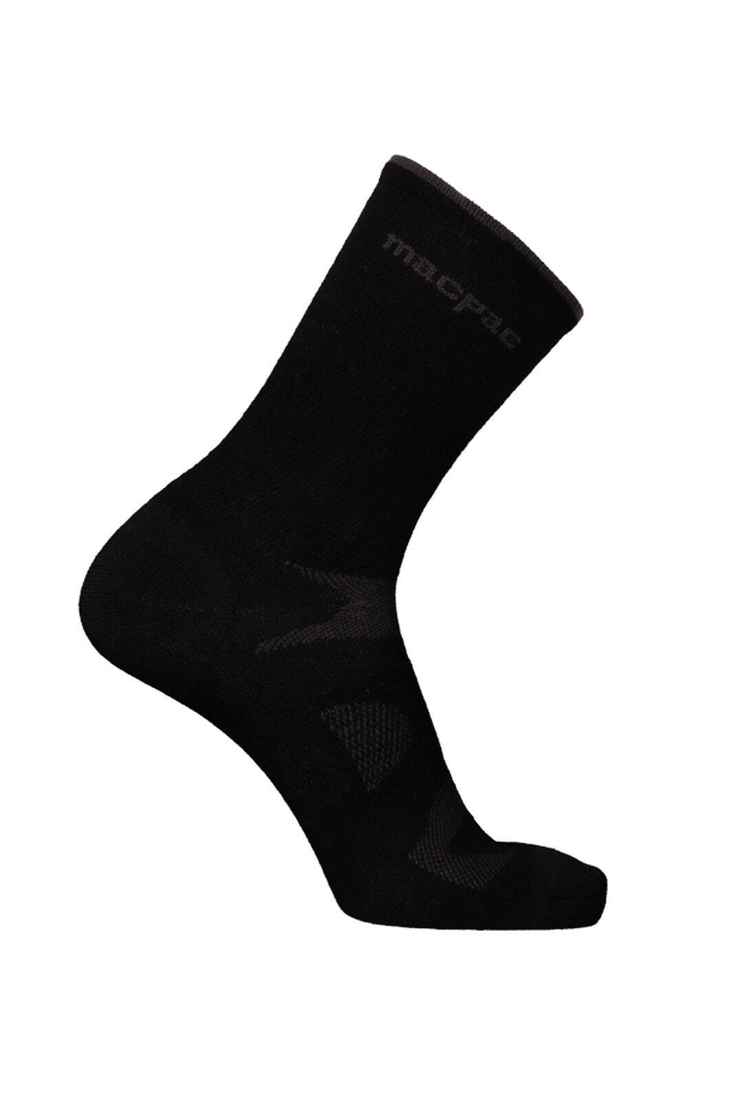 Macpac Merino Rouleur Crew Socks, Black, hi-res