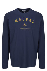 Macpac Graphic Fairtrade Organic Cotton Long Sleeve Tee — Men's, Black Iris, hi-res