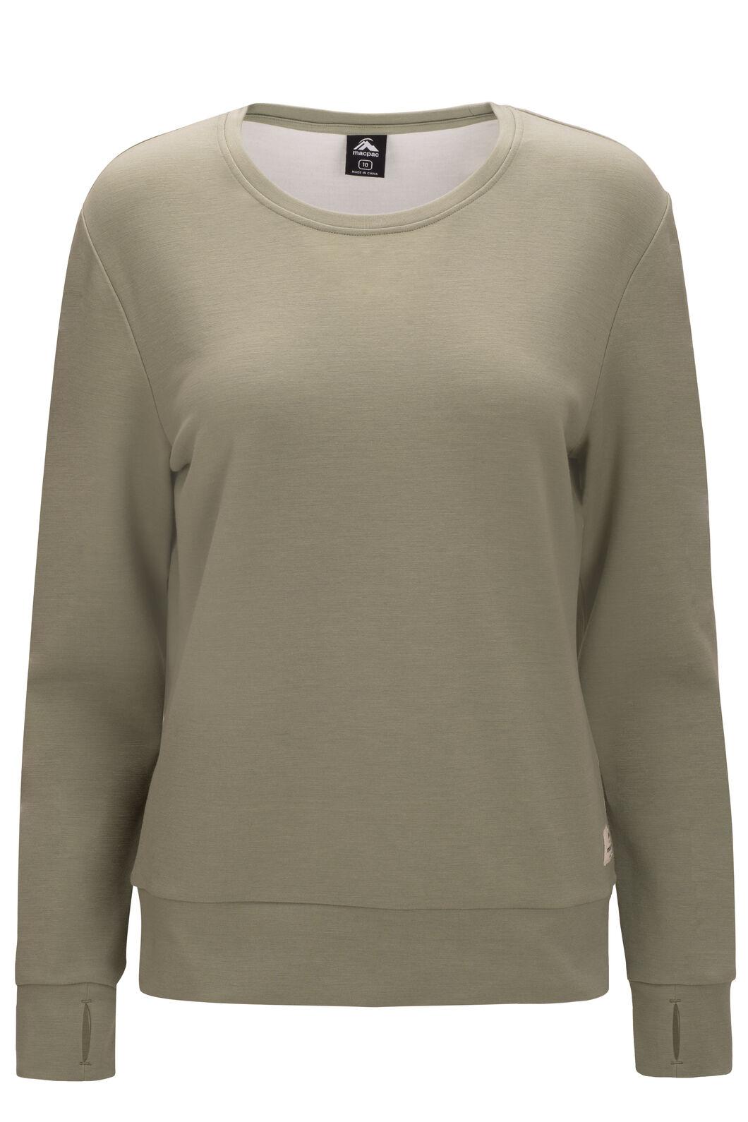 Macpac 280 Merino Long Sleeve Crew — Women's, Oil Green, hi-res