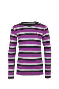 Macpac 220 Merino Long Sleeve Top — Kids', Purple Stripe, hi-res