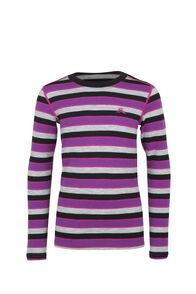 Macpac Kids' 220 Merino Long Sleeve Top, Purple Stripe, hi-res