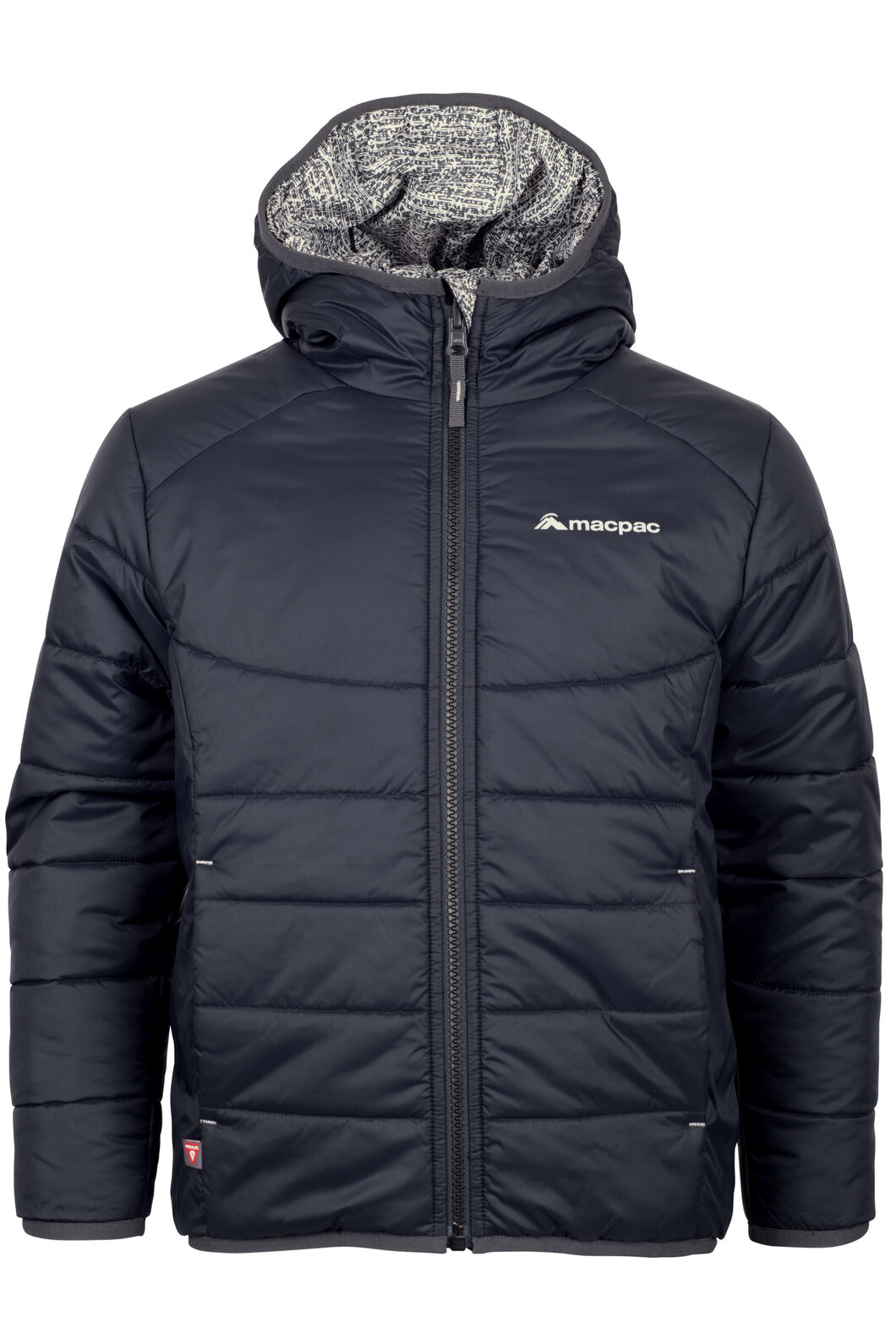 Macpac Pulsar Hooded Primaloft® SILVER Jacket - Kids', Black/Print, hi-res