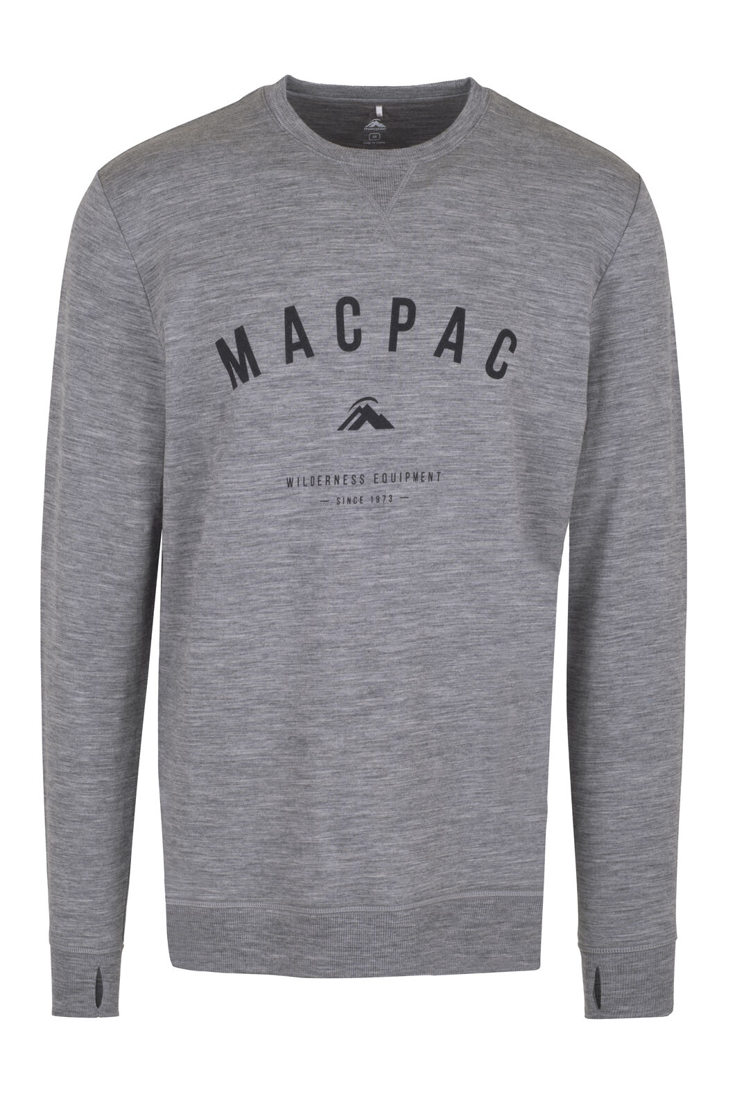 Macpac No Borders Merino Crew - Men's, Grey Marle, hi-res