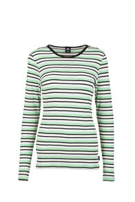 Macpac 220 Merino Top — Women's, Misty Jade/Katydid Stripe, hi-res