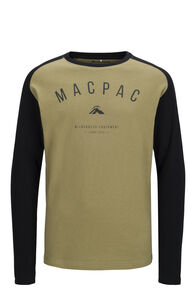 Macpac Graphic Fairtrade Organic Cotton Long Sleeve Tee — Kids', Boa/Black, hi-res