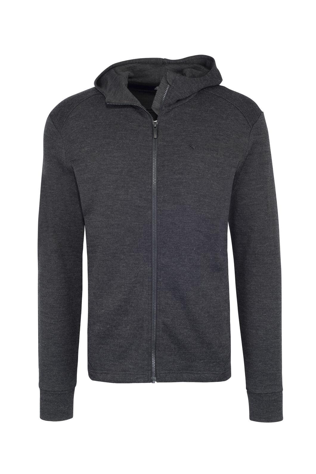 Macpac Ohau 320 Merino Hooded Jacket — Men's, Charcoal Marle, hi-res