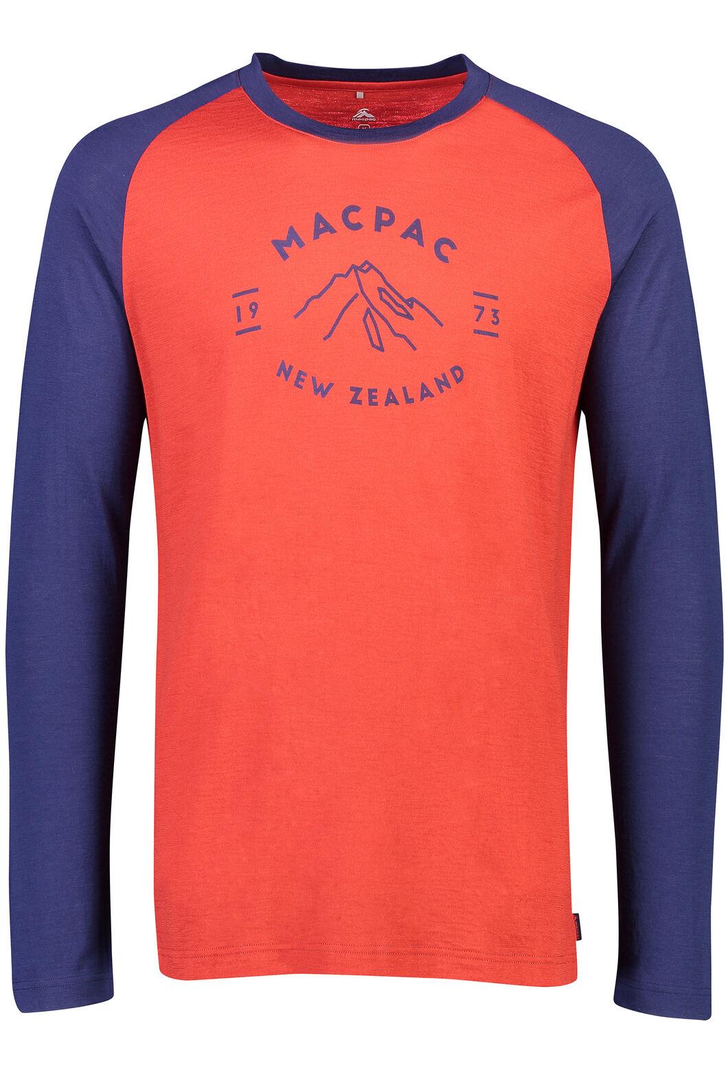 Macpac Mountain Merino 180 Long Sleeve Crew - Men's, Pompeian, hi-res