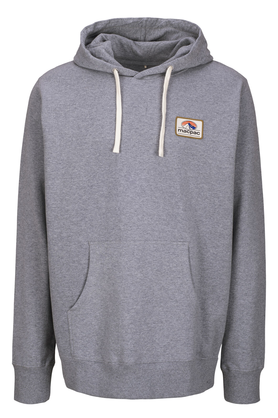 Macpac Organic Cotton Fairtrade Hooded Pullover — Men's, Grey Marle Patch, hi-res
