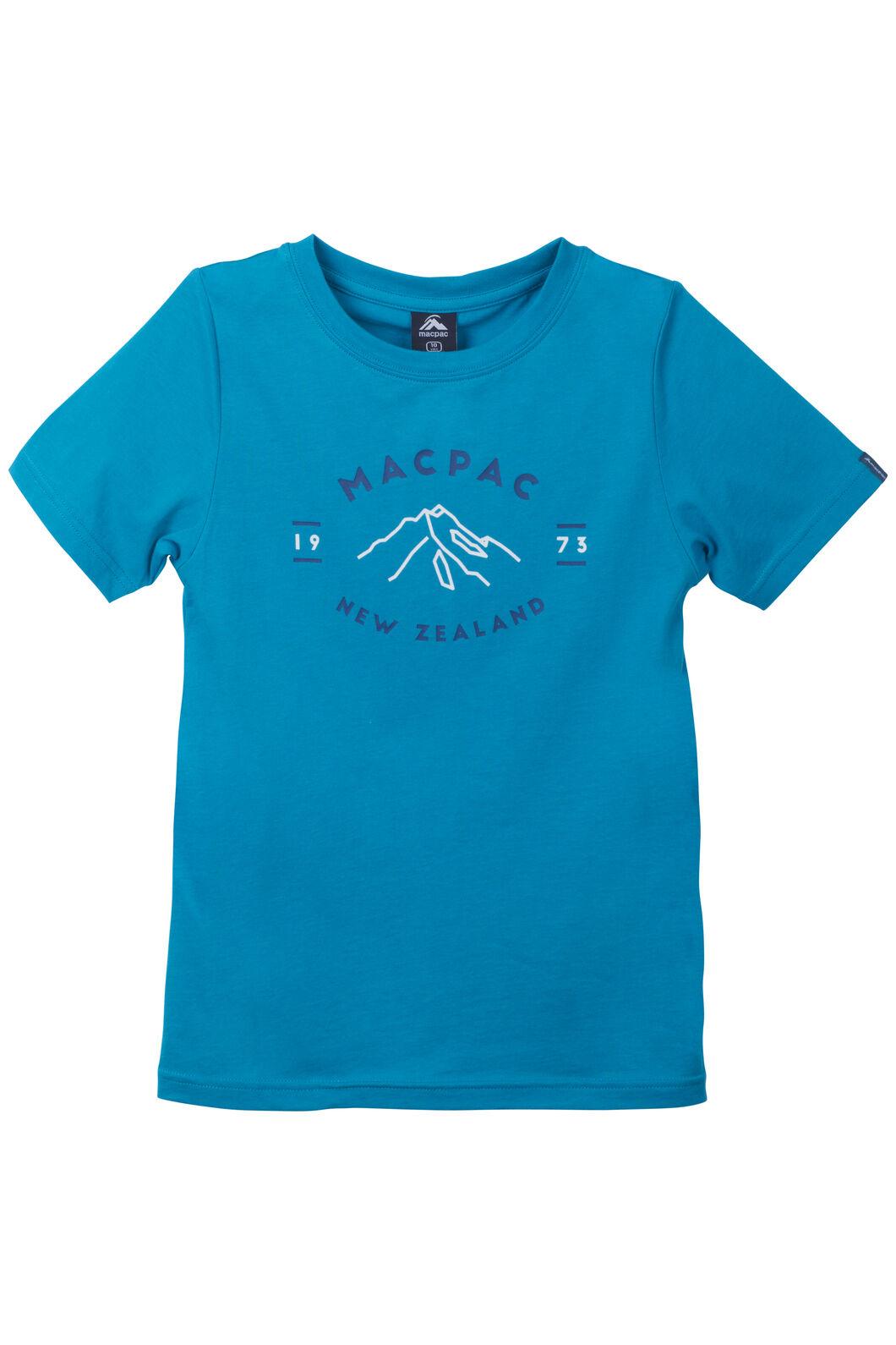 Mountain Print Organic Cotton Tee - Kids', Enamel Blue, hi-res