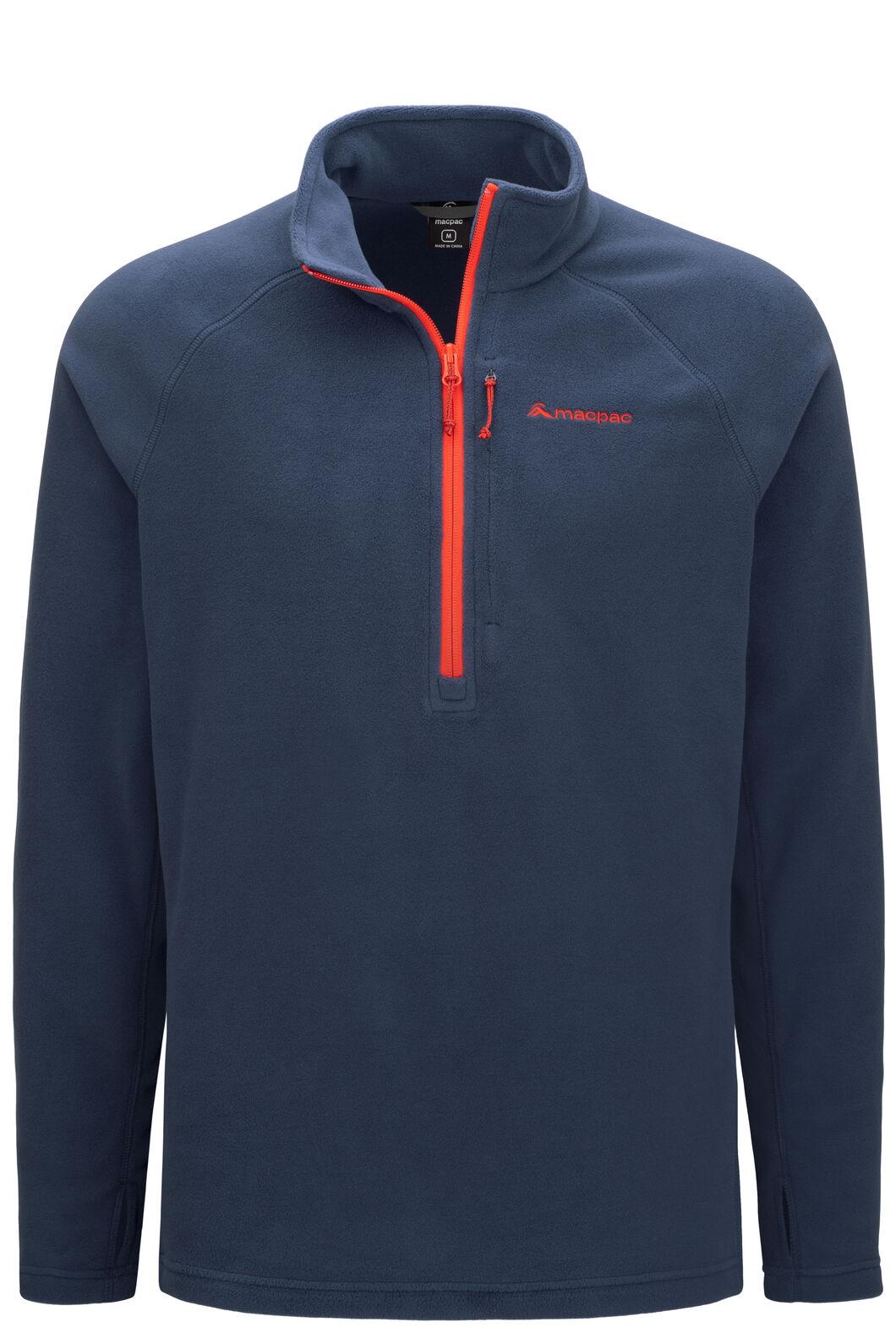 Macpac Men's Tui Polartec® Micro Fleece® Pullover, Black Iris/Aurora Red, hi-res