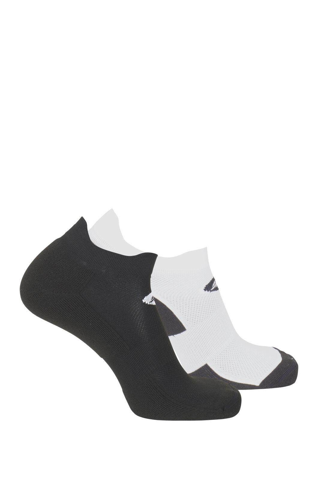Macpac Light Trail Run Sock (2 Pack), Black/White, hi-res