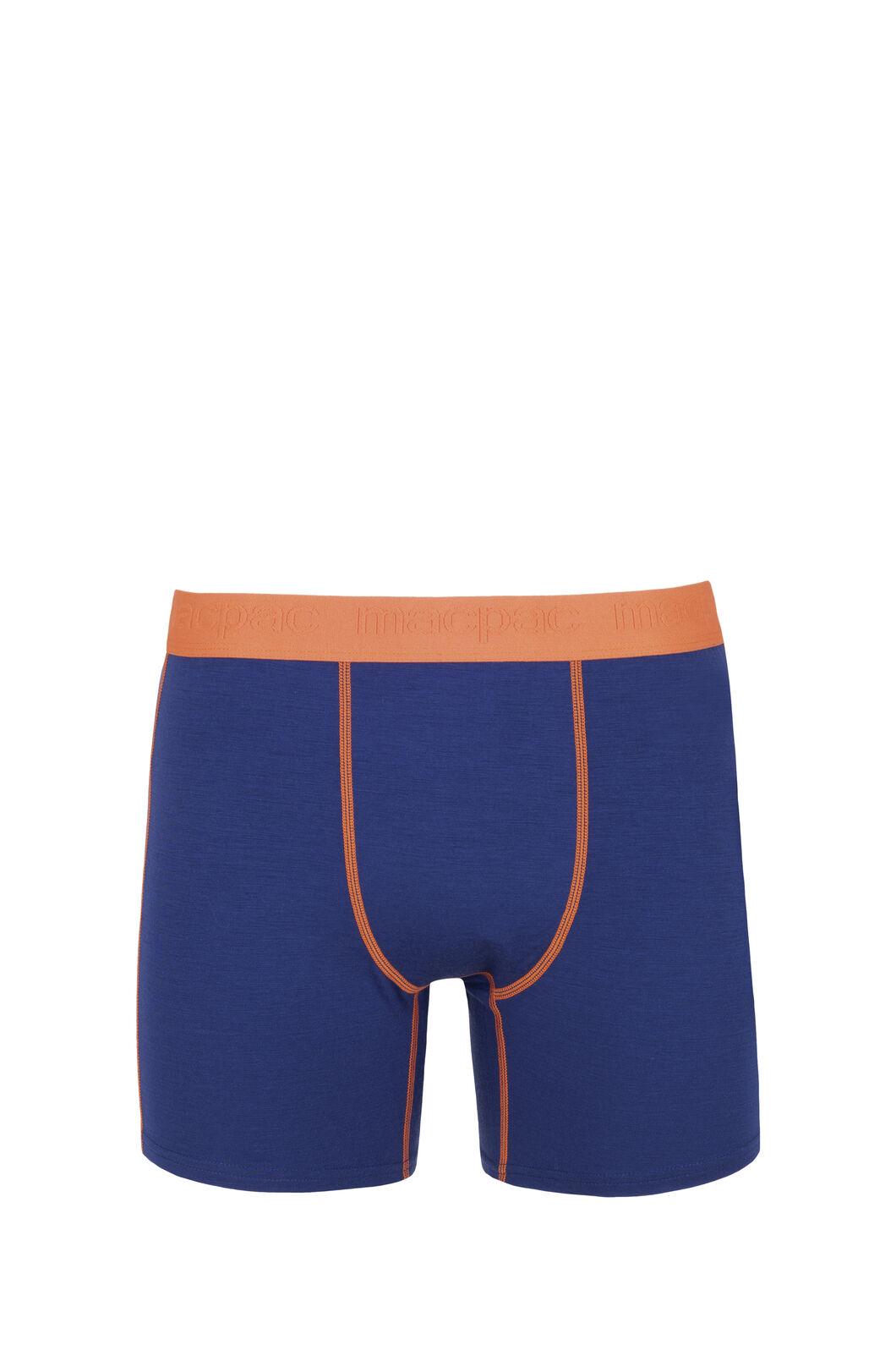 Macpac 180 Merino Boxers - Men's, Blue Depths/Burnt Orange, hi-res