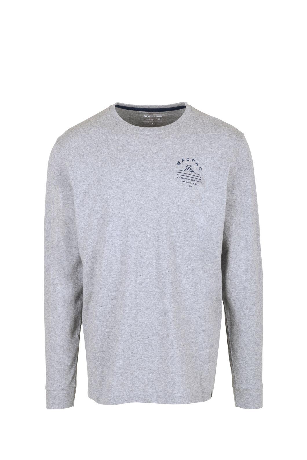 Macpac Alps Fairtrade Organic Cotton Long Sleeve Tee — Men's, Grey Marle/Mood Indigo, hi-res