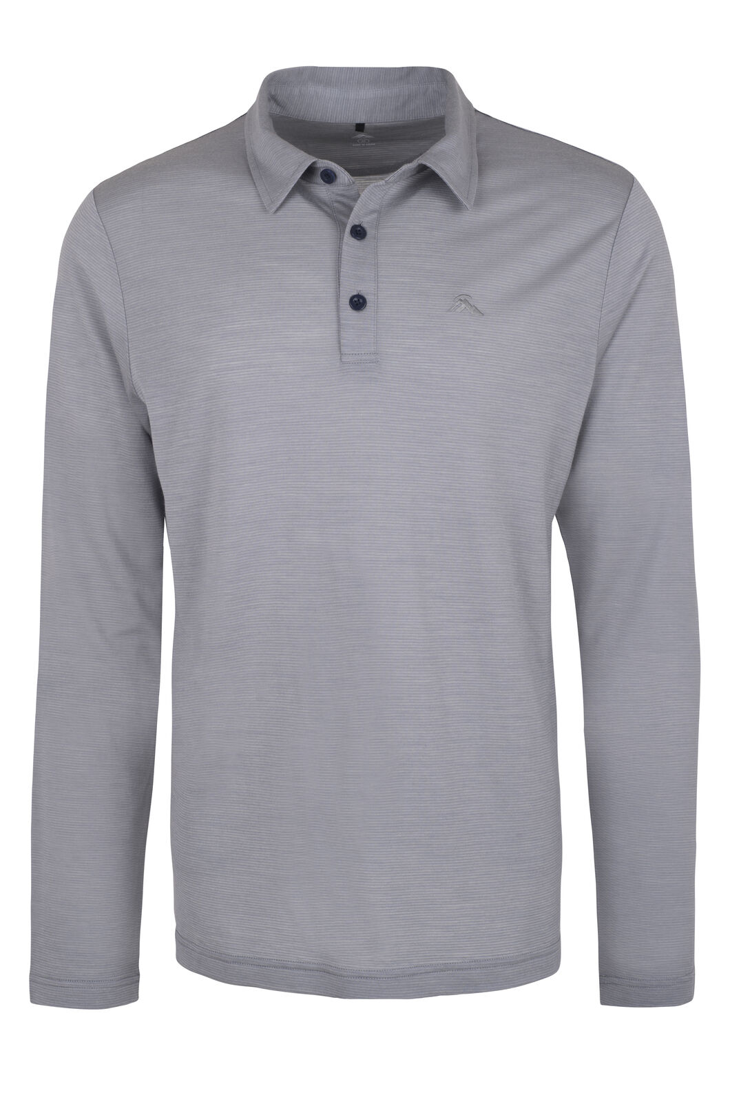 Macpac Merino Blend Long Sleeve Polo - Men's, Mid Grey, hi-res