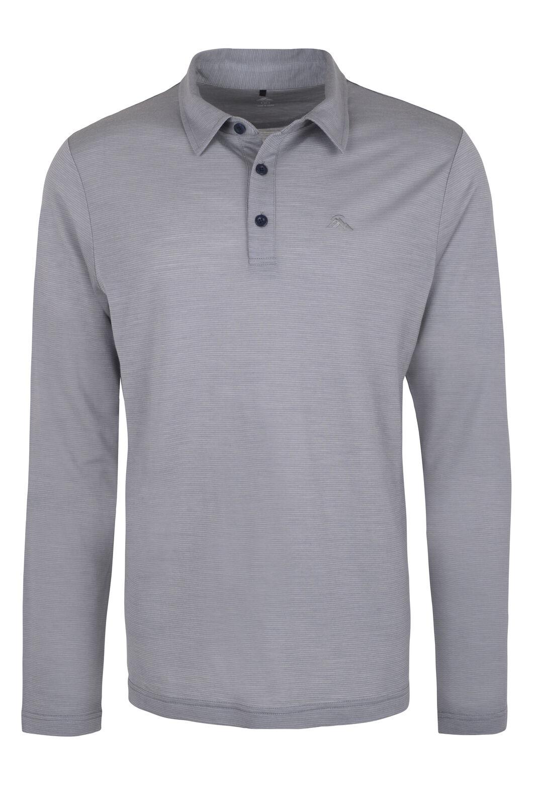 Macpac Merino Blend Long Sleeve Polo — Men's, Mid Grey, hi-res