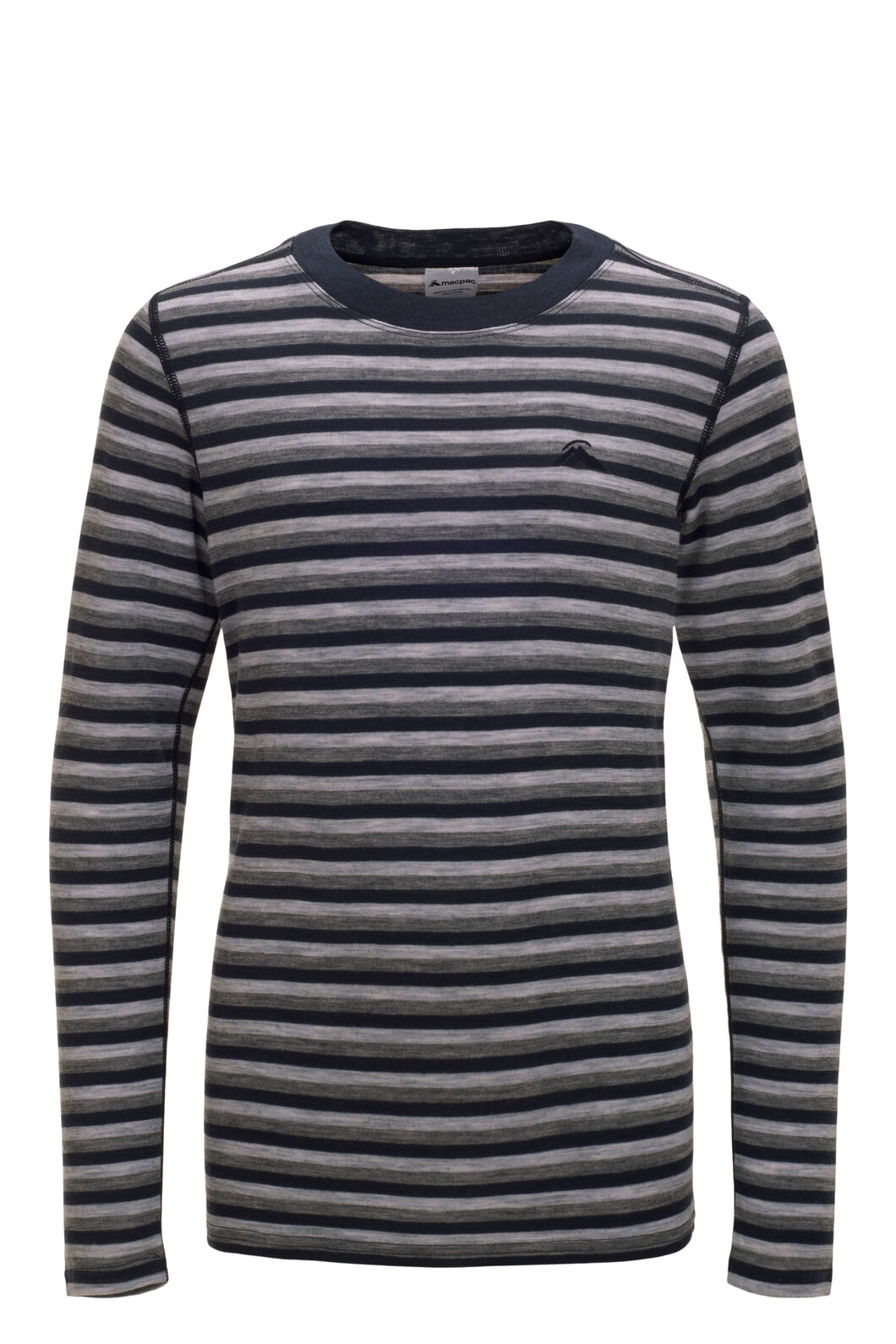 Macpac 220 Merino Long Sleeve Top — Kids', Grey/Navy Stripe, hi-res