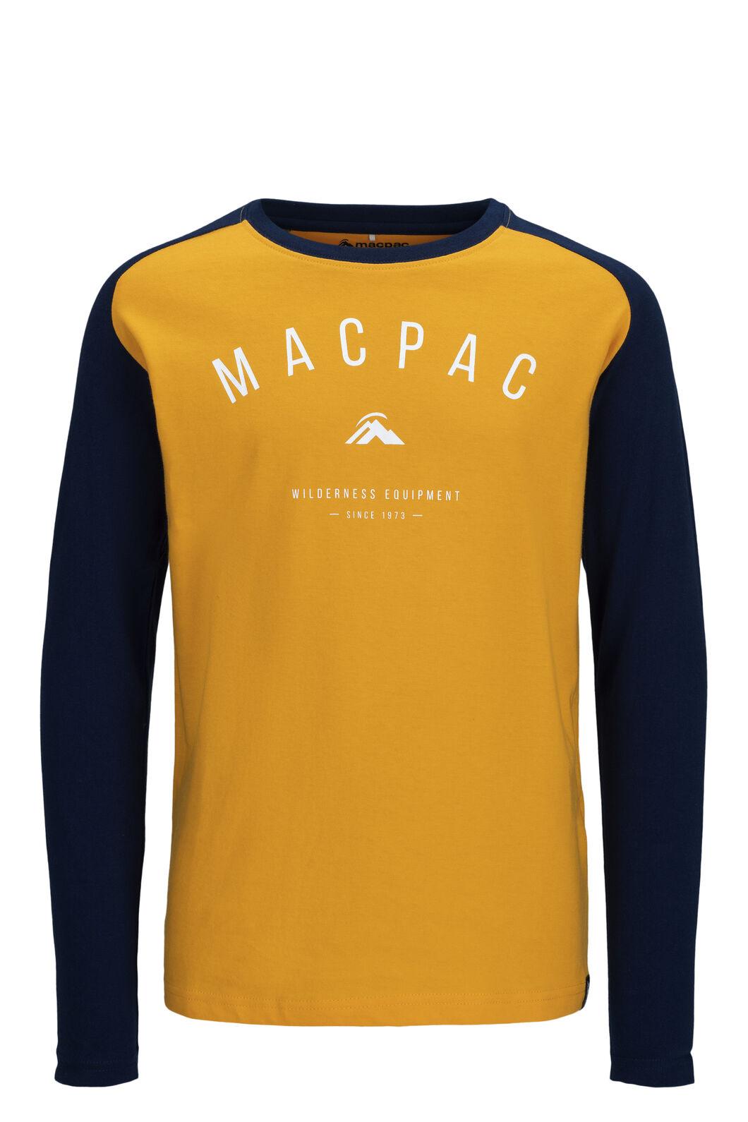 Macpac Graphic Fairtrade Organic Cotton Long Sleeve Tee — Kids', Cadmium Yellow/Black Iris, hi-res
